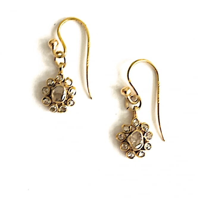 18ct gold and diamond set earrings on 18ct hook fittings with a drop of 17 mm