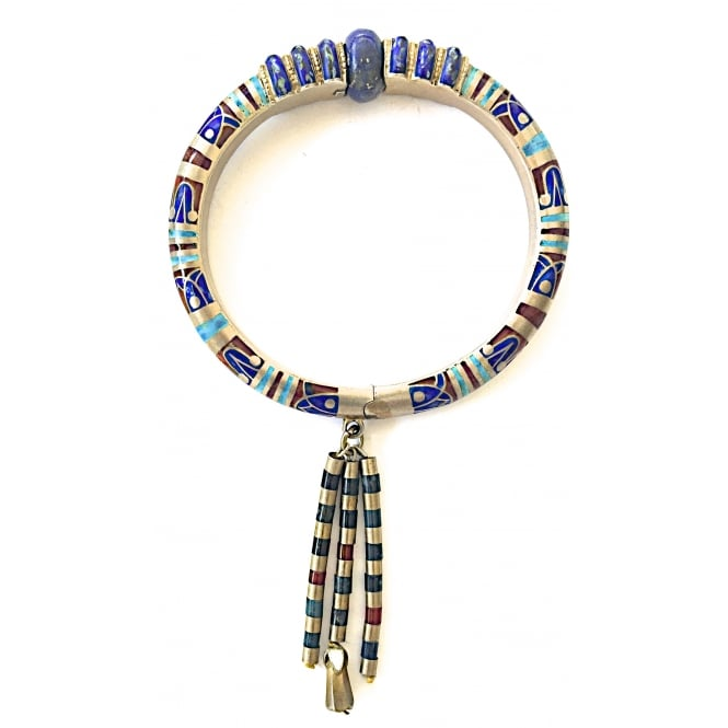 1920's Egyptian style bangle in silver gilt with agate, enamel and lapis lazuli the clasp in a lapis lazuli bead