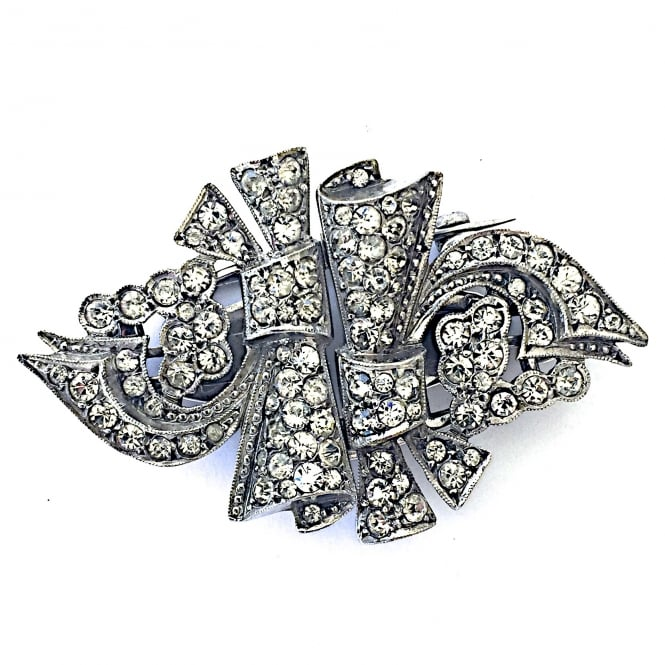 1940's silver and paste brooch which breaks into 2 clips