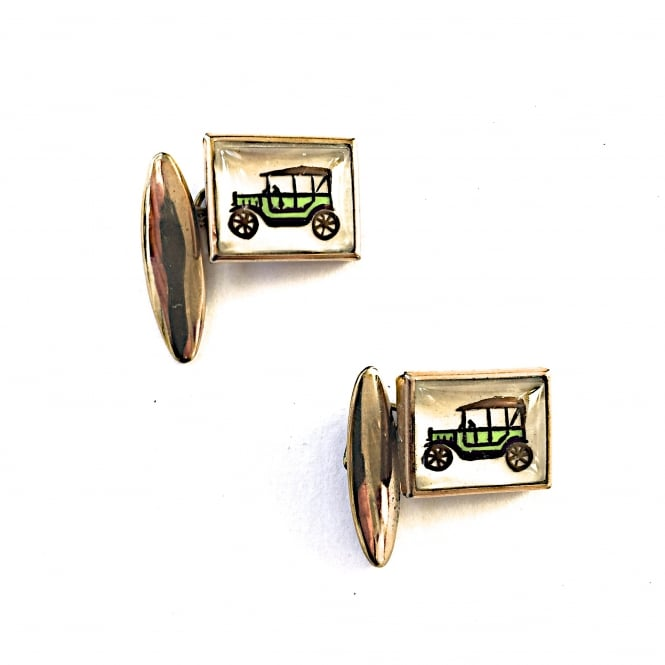 1950's cufflinks in gilt metal and glass depicting a car English 1950's