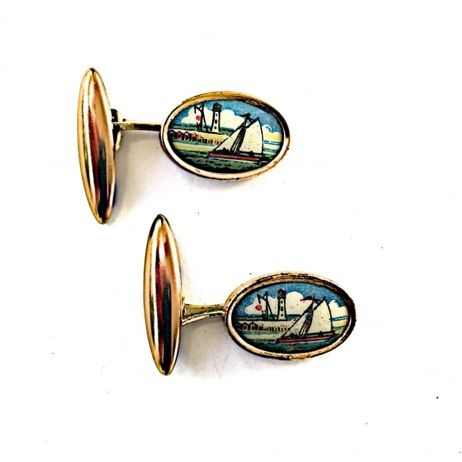 1950's metal and celluloid cufflinks with an image of a sailing boat English