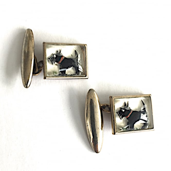 1950's Scottie dog cufflinks on gilt metal and glass English