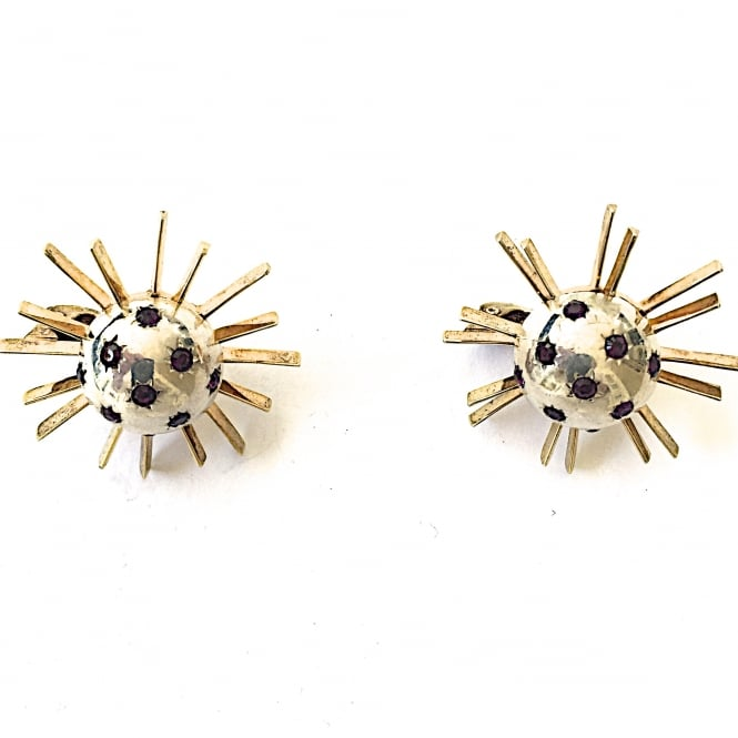 1950's silver, vermeil earrings set with garnet paste clip and post fittings USA 1950's
