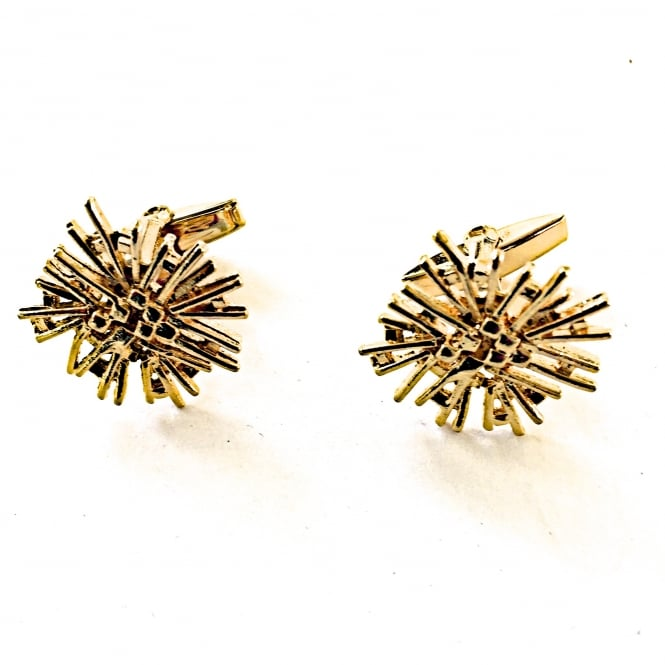 1970's gilt starburst cufflinks on a bar fitting