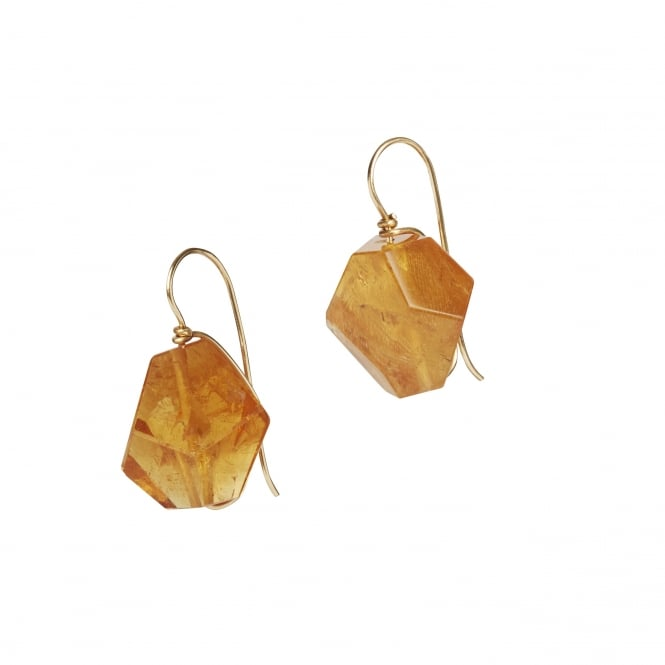 """Abstract"" hand cut and polished fine quality citrine earrings 18ct gold"