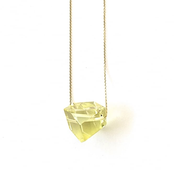 """Abstract"" hand cut fine quality lemon citrine gem on an 18ct gold chain length 90 cms"