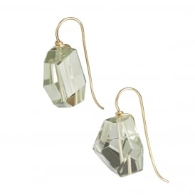 """Abstract"" hand cut green amethyst (prasiolite) earrings on 18ct gold hook fittings"