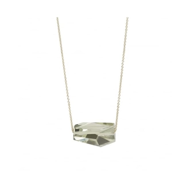 """Abstract"" hand cut green amethyst (prasiolite) gemstone on a fine 9ct gold chain. Length 90 cms"