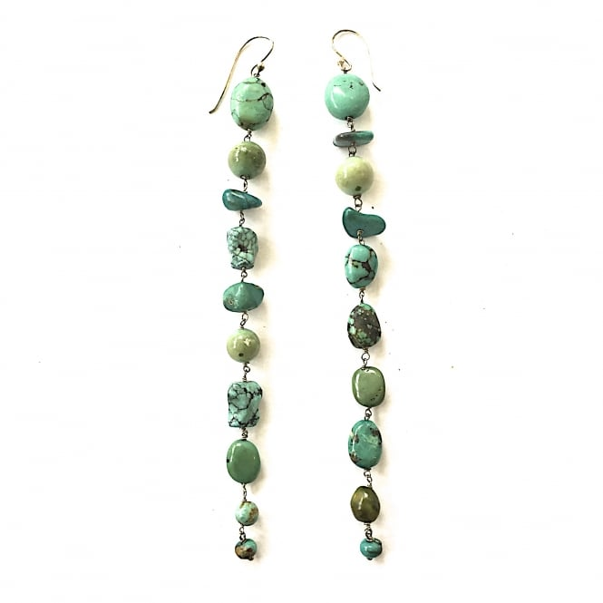 Afghani turquoise and silver earrings 14cms long