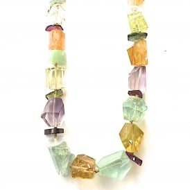 Aquamarine,iolite,citrine,amethyst and tourmaline necklace with 18ct gold clasp