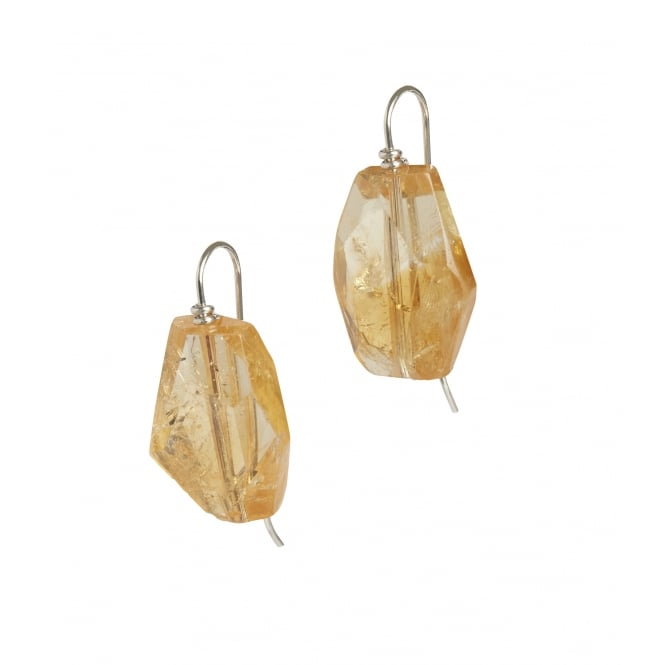 Asymmetric cut citrine and silver earrings on a hook fitting