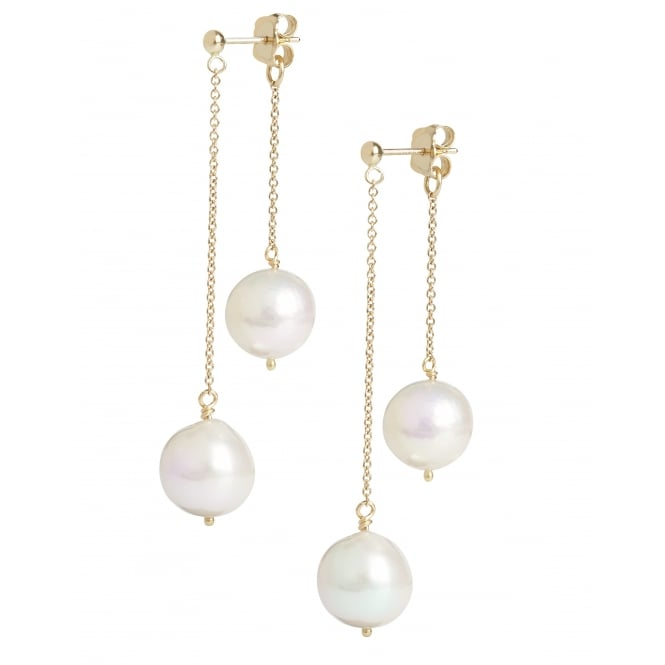 Back and front pearl earrings 18ct gold, one falling from front of ear, the other from the back. One can be worn separately with spare butterfly provided