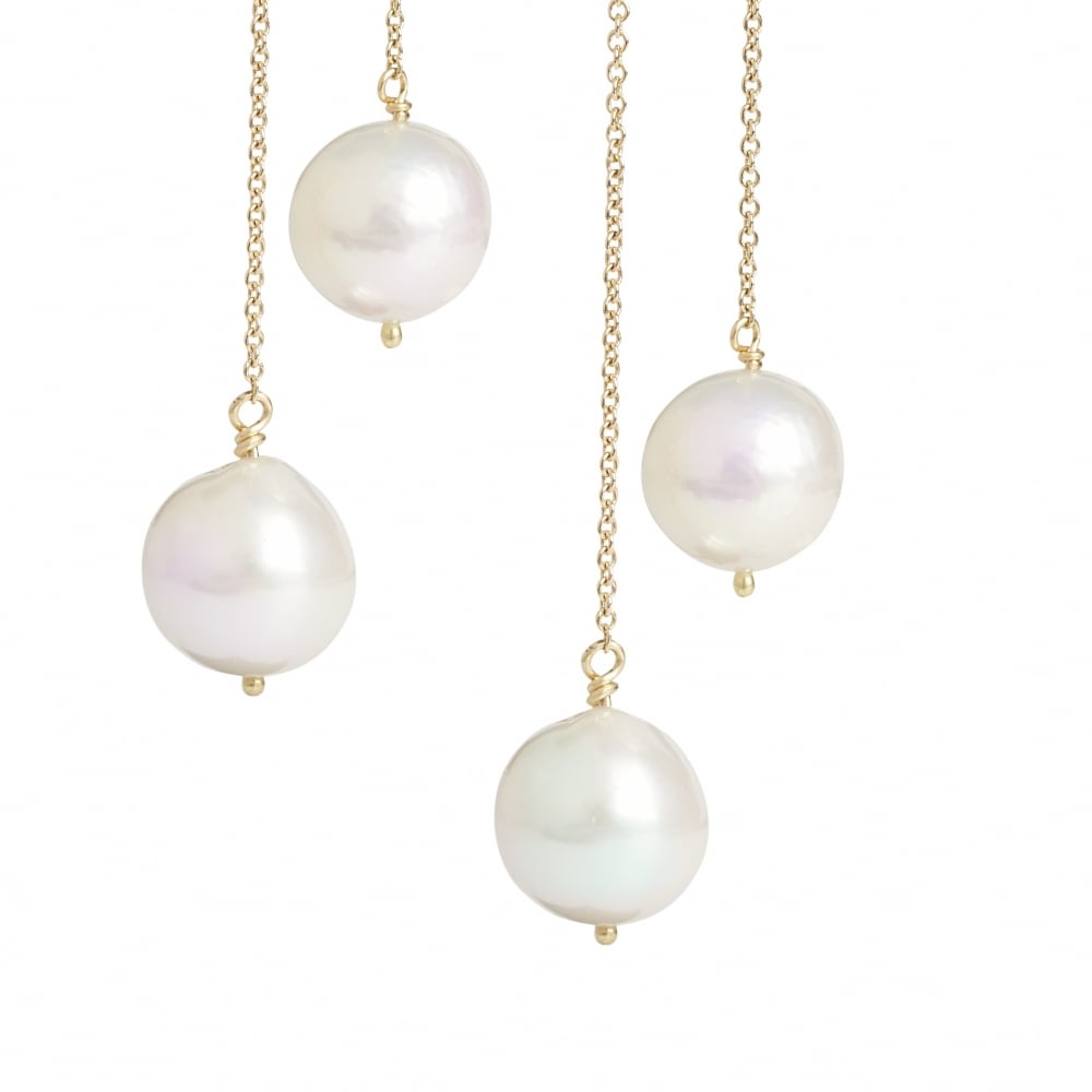 Back And Front Pearl Earrings 18ct Gold, One Falling From Front Of Ear, The