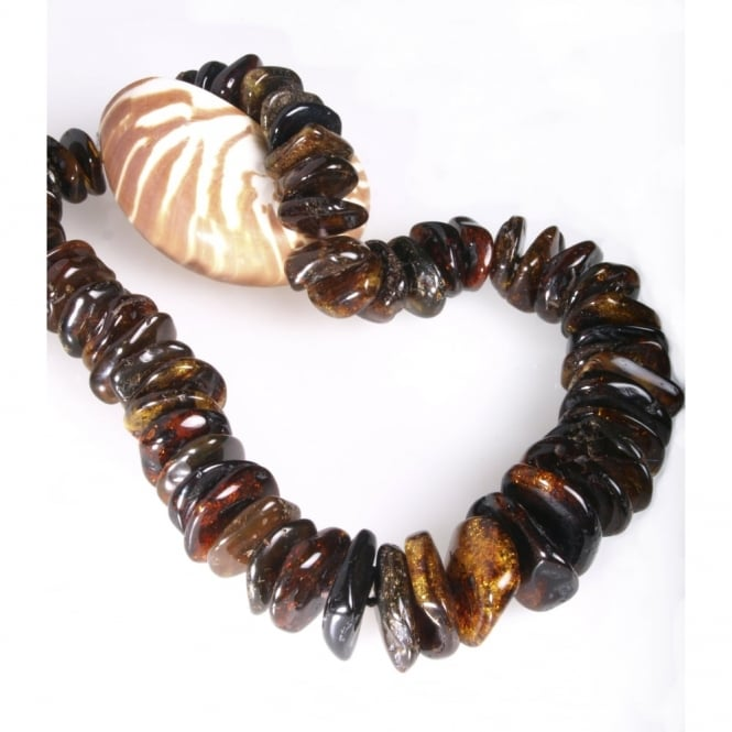 Baltic amber bead necklace with silver S clasp length 70 cms and largest bead side 40mm x 30mm