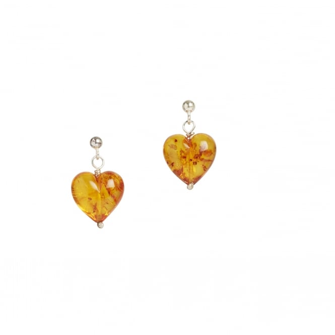 Baltic amber heart shaped earrings on silver ball and post fittings