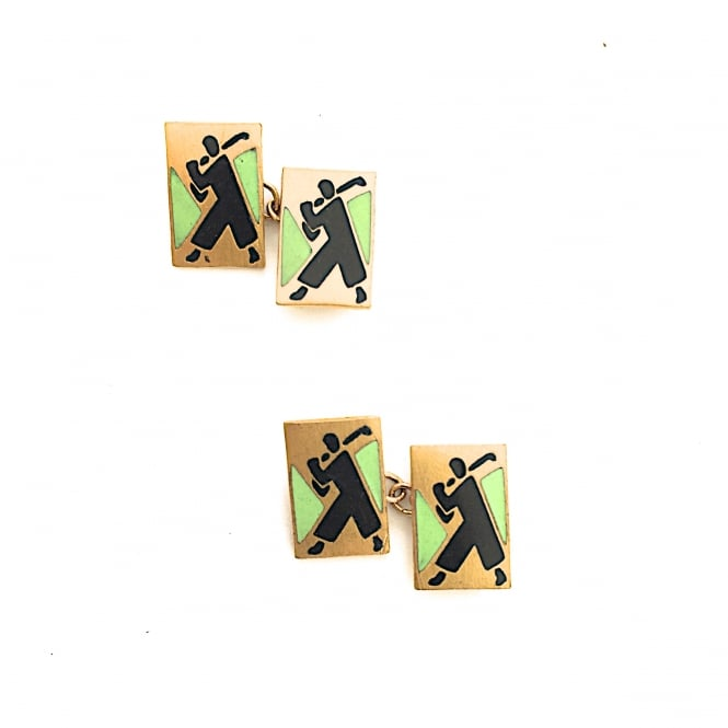 Beautifully designed 1930's golfer cufflinks on gilt metal and black and green enamel