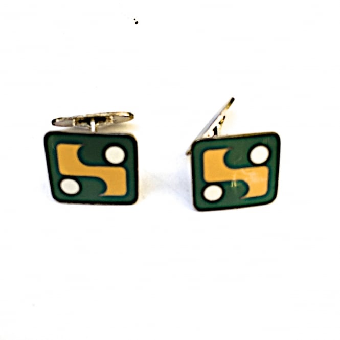 Danish 1960's square cufflinks silver and enamel