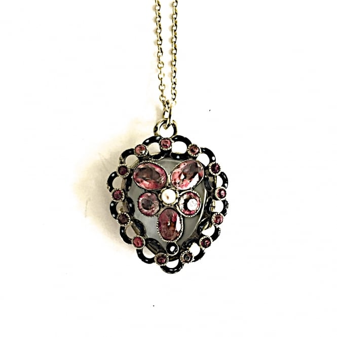 Edwardian silver, paste and enamel heart pendant with a glass locket at the back