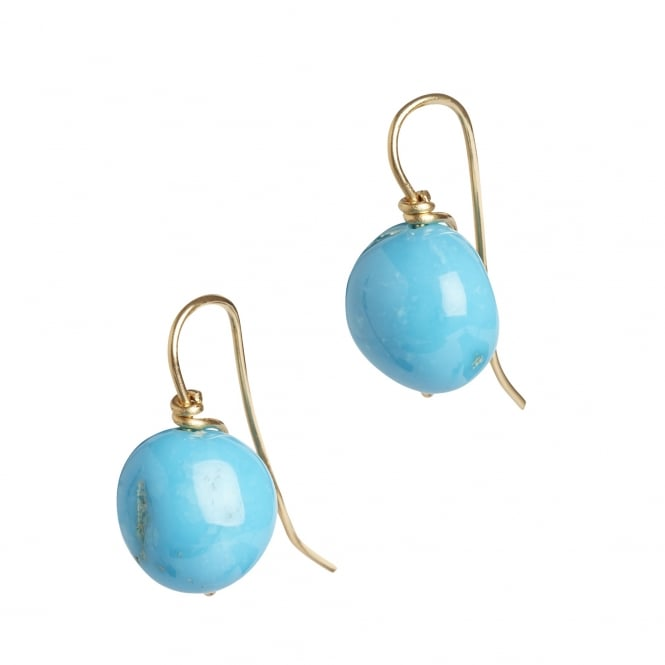 Fine quality turquoise from New Mexico as earrings on 18ct gold hook fitting