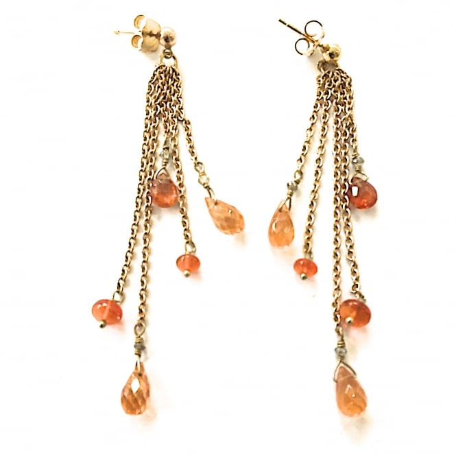 Fire opal, mandarin garnet and diamond earrings 18ct gold with post and butterfly fittings. Length 6.5 cms