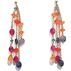 Fire opal, sapphire and ruby earrings on 18ct gold with post and butterfly fittings Length 65mm