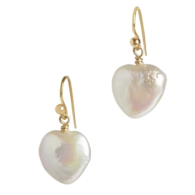Fresh water heart shaped pearl earrings on 18ct gold wire fittings