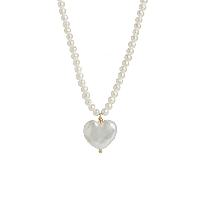 Fresh water pearl heart on a 42cm pearl chain with 18ct gold clasp