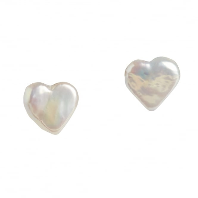 Fresh water pearl heart shaped stud earrings on 18ct gold