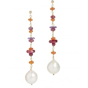 Fresh water pearl, ruby, hand carved tourmaline and fire opal earrings in 18ct gold with post and butterfly fittings length 80mm