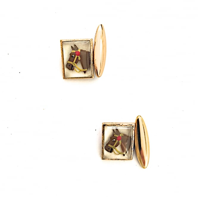 Gilt metal and glass 1950's horse head cufflinks English