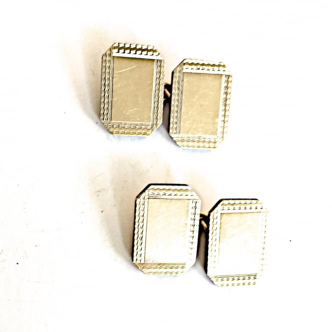 Gold on silver rectangular engine turned 1930's cufflinks English