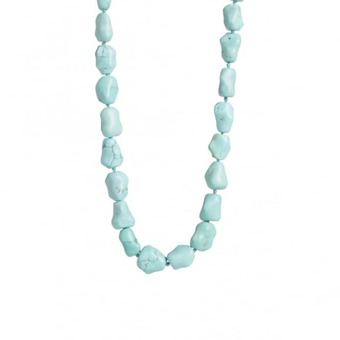 Hand carved Chinese turquoise beads as necklace with a Mediterranean coral bead at the back.Length 84cms