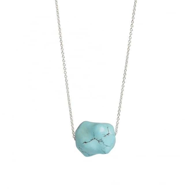 Hand carved Chinese turquoise nugget pendant on a 90 cm silver chain