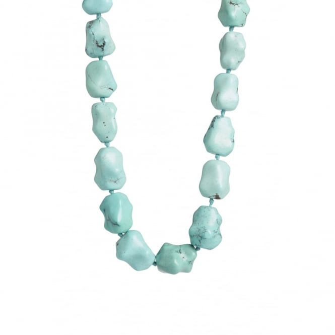 Hand carved fine colour Chinese turquoise as necklace with silver clasp 48cms long