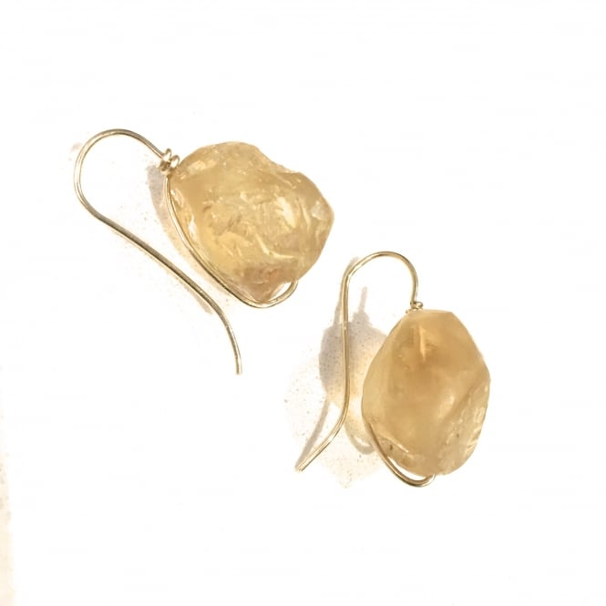 Hand cut and lightly polished citrine and 18ct gold earrings