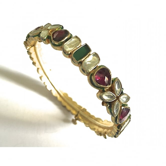 Hinged bangle in vermeil with enamel,garnet and agate and crystal