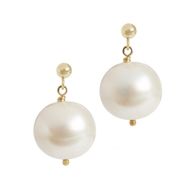 Large round fresh water pearl earrings, diameter15mm on 18ct gold post and butterfly fittings