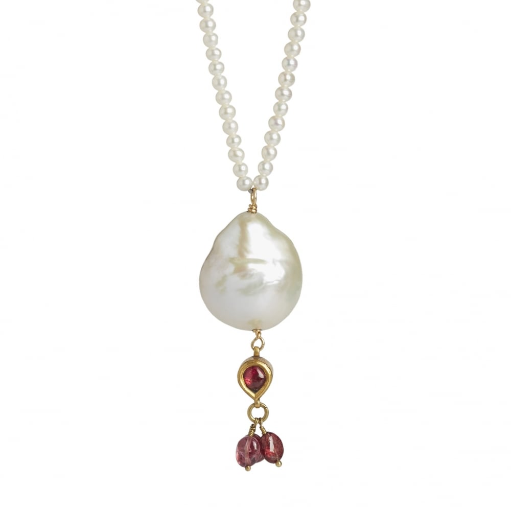 Cobra and bellamy pearl pendant with a gold and ruby drop long fresh water pearl chain 80 cms long with 18ct gold clasp and a large pearl mozeypictures Gallery