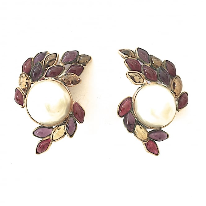 Madame Gripoix for Chanel earrings faux pearl and plique a jour enamel French circa 1970