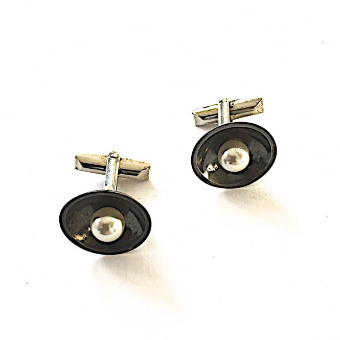 Mexican oxidised silver and pearl cufflinks 1960's