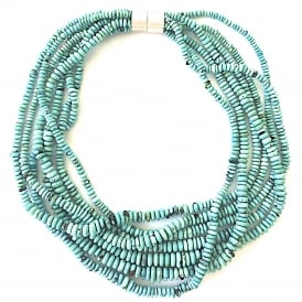 Multi strand fine quality turquoise necklace with a silver magnetic clasp