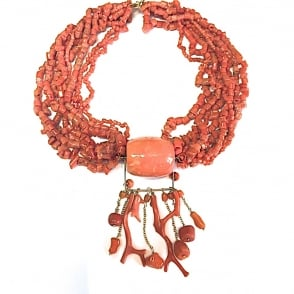 Multi strand Mediterranean coral necklace on 18ct gold with coral branches and beads. Length 44cms