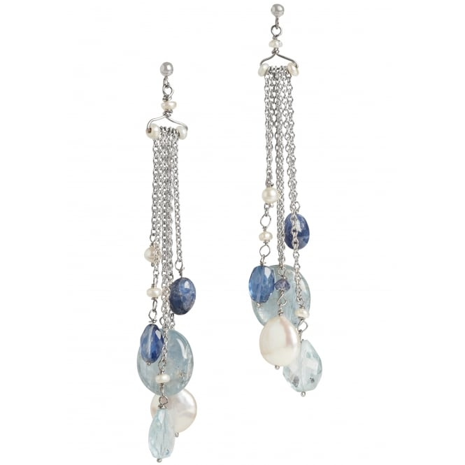 Pearl, aquamarine, iolite and sapphire earrings with 18ct white gold chain and 18ct post and butterfly fittings Length 80mm