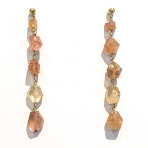 Precious Topaz and citrine earrings on 18ct gold with post and butterfly fittings. Length 74mm