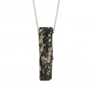 Pyrite (this grows naturally in slate) pendant on rhodium plated silver chain on 90 cm length