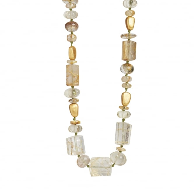 Rutilated rock crystal necklace with 18ct gold beads and clasp