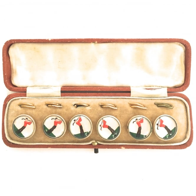 Set of 1930's glass and gilt metal golfer buttons with back fittings in original box English