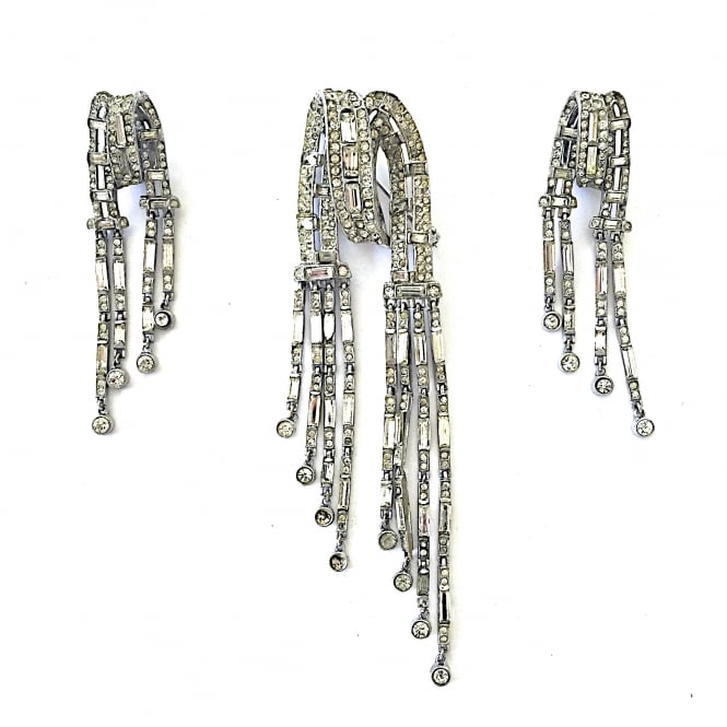Trifari silver and paste brooch and earrings with clip fittings USA 1940's