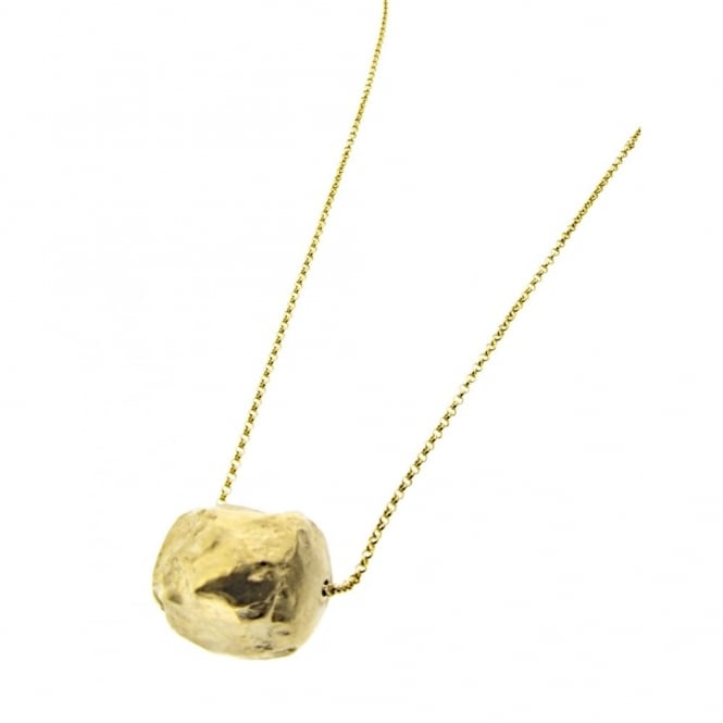 Vermeil (18ct gold plated on silver) heavy nugget on a 90cm vermeil long chain