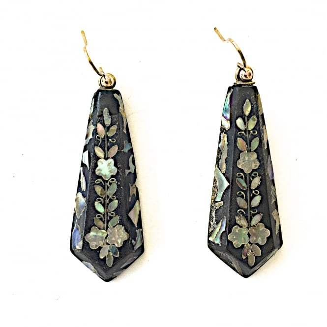 Victorian mother of pearl inlay earrings circa 1880 on gold wires